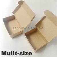 boda de papel marrón al por mayor-50 unids / lote Natural Brown Kraft caja de papel Cajas de cartón caja de embalaje de jabón favores de la boda caja de regalo de caramelo