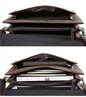 grande saco marrom escuro venda por atacado-Designer-Luufan Briefcase Business Bag Homens Macho Grande Capacidade Dark Brown Crazy Horse Couro Trabalho de escritório Advogados Trip Clássico com Alça