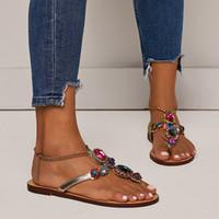sandalias planas para mujer al por mayor-US4-12 Para Mujer Sandalias Pisos Playa Sexy Rhinestones Cristal Bling Zapatos de Cristal Tamaño Grande Playa Verano A713