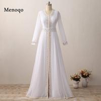 arabisches abendkleid modell großhandel-Real Model Vestido De Festa Langarm Weiß Chiffon Perlen Arabisch Muslimischen Abendkleid Dubai Kaftan 2019 Robe De Soiree