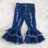 hot sale baby girls designer pants boutique kids jeans toddler girls jeans bell bottom pants baby clothes girl pants