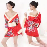costumes de rôle achat en gros de-Robe Sakura Sexy JaponaisePetits Costumes Kimono Traditionnel Robe Costumes Pyjamas