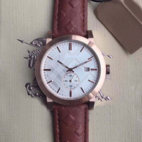 Wholesale men leather band quartz watches for sale - Group buy Men Wristwatch MM British Style Quartz Chronograph Date Mens Watch Watches Gold Case White Dial With Brown Leather Band