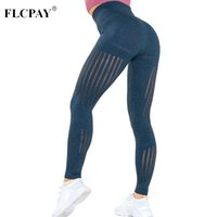 Wholesale sexy grey yoga pants online - High Waisted Women Hollow Out Push up Tights Seamless Leggings Sexy Woman Yoga Pants Elastic Fitness Gym Leggings Femme Sport