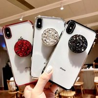 ingrosso cristallo bling blumper iphone-Lusso Bling Bling Diamond Holder Cover posteriore Shell Air Sac Electroplate TPU Paraurti Custodia in cristallo con strass per iPhone 7 8PLUS XR X MAX