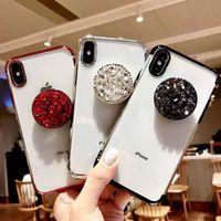 iphone bumper bling crystal al por mayor-Luxury Bling Bling Diamond Holder Contraportada Shell Air Sac Electroplate TPU Bumper Rhinestone Crystal Cases para iPhone 7 8PLUS XR X MAX