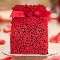 Wholesale designs for laser cut boxes for sale - Group buy Wishmade Red Laser Cut Candy Box with Ribbon Hollow Floral Design for Wedding Favors And Gifts Boxes Sweet Party