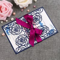 Wholesale buckle invitation cards resale online - New Style Rose Pattern Navy Blue Laser Cut Invitation Cards With Ribbons For Wedding Bridal Shower Engagement Birthday Graduation Party