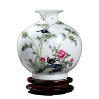 винные вазы оптовых-Jingdezhen ceramic apple vase fllower Bird living room wine cabinet antique rack ornaments crafts flower arranging decorations