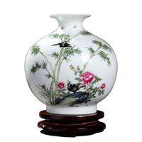 gabinete de ceramica al por mayor-Jingdezhen jarrón de cerámica florero Fllower Bird sala de estar gabinete de vino antiguos adornos artesanales arreglos florales decoraciones
