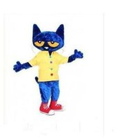 Wholesale new cartoon mascot costumes for sale - Group buy 2019 new Discount factory sale Pete the Cat Mascot Costume Adult Size Halloween Cat Cartoon Costume Fancy Party Dress olome