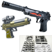 bloques de montaje de plástico al por mayor-DIY SWAT Airsoft Building Blocks Ladrillo Simulación Arma Desert Eagle Réplica Assault Gun Assembly Toy Pistola de plástico Rifle Toy para niños