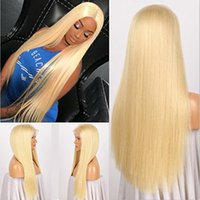 Wholesale burmese silk top wig resale online - Silk top Brazilian human hair wig Lace Front Wig blond Full Lace Wig with baby hair no shedding for black women