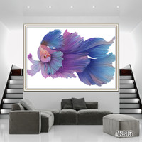 Wholesale oil paint fish for sale - Group buy ZYXIAO Posters and Prints Performing animal purple fish modern Oil Painting Canvas No Frame Wall Pictures for Living Room Home Decor A3315