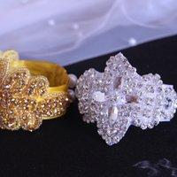 perle manschette armband braut großhandel-Gold Cristal Armband, Hochzeit Schmuck Handstück, Braut Manschette, Perlen Armband - Stickerei Lace Style