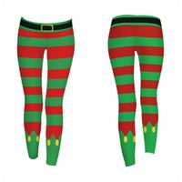 drop ship leggings impressos venda por atacado-Calças de Natal das mulheres Multicolor Stripe Impresso Festival Roupas Femininas Magro Calças de Natal Leggings Drop Shipping Pro