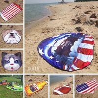 alfombra de bandera americana al por mayor-Americana estera de la playa bandera de la manera forma irregular toalla de playa de la fruta de forma redonda mantas al aire libre los niños juegan Soft Alfombras LJJ_TA872 estera