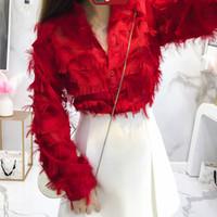 lindas blusas curtas venda por atacado-Borla Design Tops Primavera Outono Tassle Pena Blusa Mulheres Camisas Vermelho Manga Longa Com Decote Em V Princesa Branca Top 3010LY