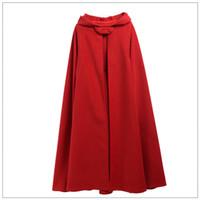 zemin uzunluğu kış pelerinin toptan satış-Kış Kadın Pelerin Yüksek Kalite Kadın Vintage Kalın Kapşonlu Kat-Uzunluk Ortaçağ Uzun Pelerin Palto
