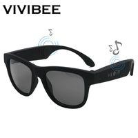 Wholesale sunglasses audio resale online - VIVIBEE New Arrival Bone Conduction Bluetooth Music Sunglasses Trendy Wireless Audio Sound G1 Polaroid Square Men Shades