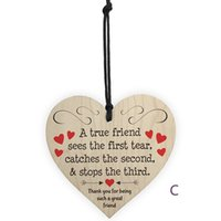Wholesale friendship signs resale online - Creative diy wooden pendant gift Family friendship love sign liquor licenses Natural environmentally friendly heart shaped wooden sign