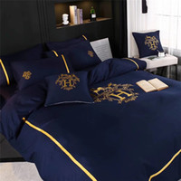Wholesale embroidered bedding designs for sale - 2 Color H Letter Bedding Set New Brand Design Cotton Embroidery Bedding Suit High Grade Summer Spring Bed Cover