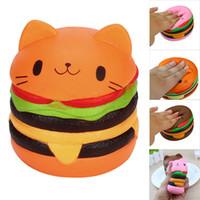 ingrosso burger squishy-Squishy Jumbo Burger Cat Hamburger Kawaii Cartone animato Simpatico Morbido Profumato Lento Rising Exquisite Kid Soft Decompression Fun Toys Relax