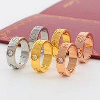 ouro anéis de noivado mulheres venda por atacado-Luxo Designer de Jóias Mulheres Anel Mens Anéis De Casamento De Aço De Titânio Anéis De Noivado De Diamante de Ouro Rosa de Luxo 6mm