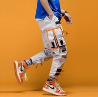 Wholesale block fashion men resale online - Track Pants Man Color Block Pockets Spring Hip Hop Fashion Harem Streetwear Fashion Jogger Casual Trousers