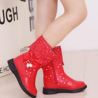 7ea62432 Invierno Cálido Bebé Niñas Botas Rosa Rojo y Negro Color Princesa Bowknot Niños  Zapatos Zapatos de los niños YX003