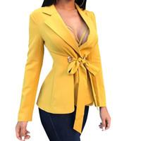 costume de bureau cardigan achat en gros de-Femmes Bureau Blazers Nouvelle Mode OL Costumes D'affaires Outfit Bow Tops Mince Feminino Cardigan Outwear Vêtements De Travail Ensemble Jaune M0510