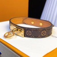 ingrosso braccialetti di cuoio fini per le donne-Nuovo stile Eleganti bracciali in vera pelle con design tondo oro per donna e uomo modello fiore braccialetto Pulsera marca fine jewelry