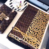 bufandas de impresión de la cadena al por mayor-Nueva primavera caliente nueva bufanda de seda para las mujeres leopardo cadena impresa bufandas largas tamaño 180x90 cm chales para las mujeres regalo