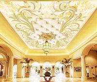 luxus-gold-tapete großhandel-Luxus-gold geprägte europäisches Muster weiche Tasche Deckenmalerei Gemälde Wohnzimmer Decke Tapete