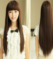 Wholesale beautiful long hair women resale online - WIG Women Beautiful Neat Bang Long Straight Hair Wigs For Cosplay Costume Party Hot