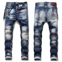jeans de hip hop calientes al por mayor-hot sale new Mens Distressed Ripped Biker Jeans Slim Fit Motorcycle Biker Denim For Men Fashion Designer Hip Hop Mens Jeans Good 1048