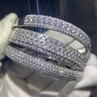 Wholesale pave diamond bangles resale online - Sparkling New Arrival Luxury Jewelry Sterling Silver Fill Pave White Sapphire CZ Diamond Women Wedding Bangle Finger Bracelet Gift
