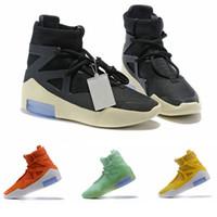 zapatos de moda de cuero ligero hombre al por mayor-2019 Zapatos de diseño Fear Of God Light Bone oranage Negro Hombres Mujeres Moda Botas de niebla Cuero real para venta Tamaño 7-12