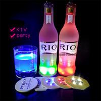 barlar dekorasyonu toptan satış-LED Coaster LED Şişe Işık Çıkartmalar Glow Noel Noel Bar Club parti Vazo Dekorasyon LED Glorifier Mini Işık İçecek Kupası Mat