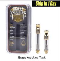 картомайзер из нержавеющей стали оптовых-Brass Knuckles Картриджи Pyrex Glass 0.5ml 1,0 мл Золото BUD касания густое масло Форсунка Vape Pen Tank Капельное наконечник с логотипом AT186