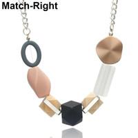 encantos em madeira venda por atacado-Minimalista Contas de Madeira Colar por mulheres de jóias de cristal Charme Colares Feminina Presentes Collares Mujer Colar NR121