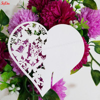 Wholesale hearts paper cups resale online - 100pcs Red Wine Cup Wedding Decoration DIY Place Card Laser Cut Heart Shape Wine Glass Cup Paper Cards Name Card Decoration Z