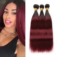 1b color de pelo rojo al por mayor-RXY Two Tone Ombre Bundles rectos 1b / 99j Paquetes de armadura brasileña del cabello Ombre Burgundy Human Hair 3 Bundles Wine Red Ombre Hair