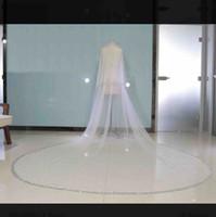 bling velos de boda al por mayor-Dos Capas Bling Bling Cristal Velo Nupcial Dos Capas 2019 Con Peine Boda Formal Señoras Accesorios Para el Cabello Velo Facial