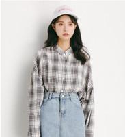 Wholesale korean loose cap online - 2019 spring explosion models Korean women s college wind casual long sleeved women s shirt loose plaid shirt M258