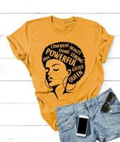 ingrosso potenza della signora-Maglietta afro Donna Maglietta femminista Maglietta Power Girl Maglietta estiva manica corta Moda Inspiring Words Letters Stampa Cotton