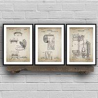 impresiones de patentes de época al por mayor-Baño de patentes Clásicos Prints, rollo de papel higiénico, Cisterna, Lavabo diseño, Loo lona Pintura Planos pared del hogar de la decoración del arte