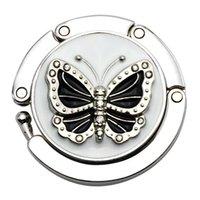 ingrosso tavolo rotondo piegato-Modello in metallo rotonda Farfalla pieghevole borsa del gancio della borsa Table Desk gancio Holder archiviazione Nuovo