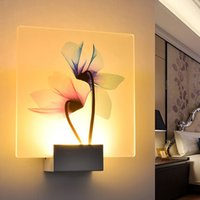Wholesale art deco plastic for sale - Group buy Simple Living Room Lamp Hotel Decoration Lamp Dragonfly Lotus Flower Printed Wall Light White Warm White