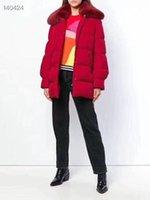 High Quality 2019 Winter Frauen European Design Runway Fashion Lange Daunenmantel Red Fox Pelz Kragen Einreiher Marke Red Down Jacket